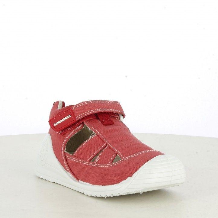 Sandàlies abotinades Biomecanics vermelles de cotó plantilla de pell extraïble - Querol online