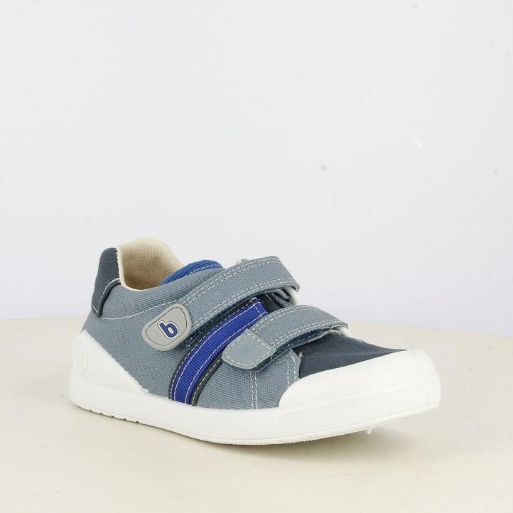 Zapatillas lona Biomecanics tonos azules cierre de velcro con plantilla extraíble - Querol online