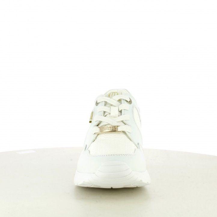 Zapatillas deportivas Mustang blancas con diferentes texturas, cuña y cordones - Querol online
