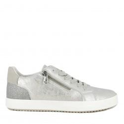 Zapatillas deportivas Geox plateado con cordón y cremallera lateral suela transpirable e impermeable - Querol online