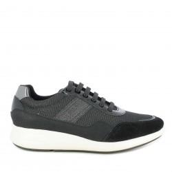Zapatillas deportivas Geox negras con tejido brillante y cordones - Querol online