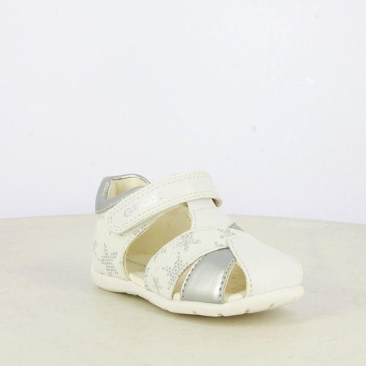 Sandalias abotinadas Geox blancas y plateadas con estrellas, plantilla de piel extraíble - Querol online