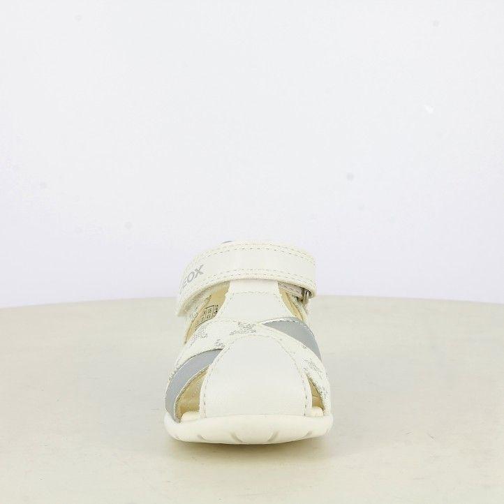Sandàlies abotinades Geox blanques i platejades amb estrelles, plantilla de pell extraïble - Querol online