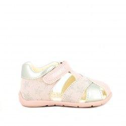 Sandalias abotinadas Geox rosas y plateadas con estrellas, plantilla de piel extraïble - Querol online