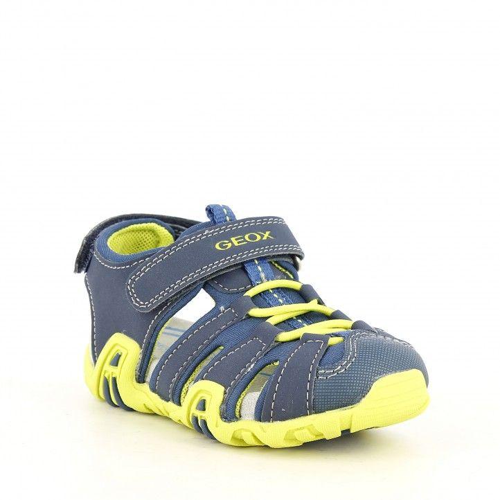 sandalias Geox azul y amarillo lima con velcro y elásticos, puntera reforzada - Querol online