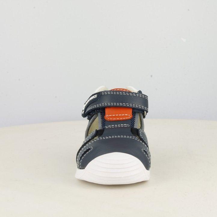 Sandàlies abotinades Biomecanics blau amb detall en taronja tanca amb velcro i elàstic - Querol online