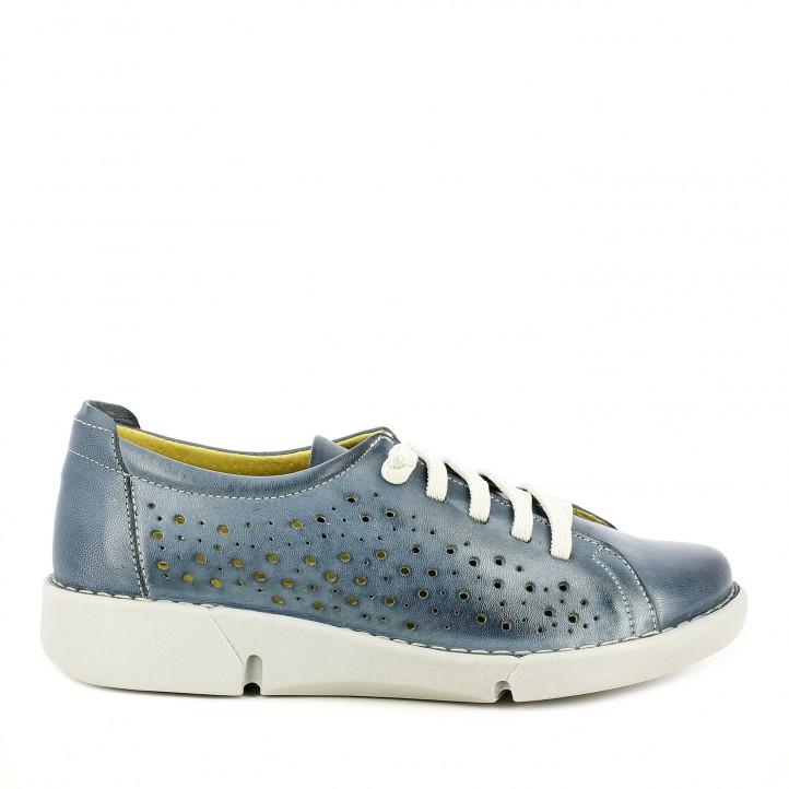 Zapatos planos Suite009 azul con cordones elásticos - Querol online