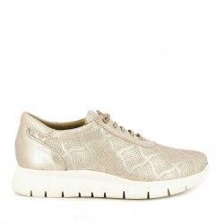 Zapatos planos Redlove metalizado con dibujos grabados en la piel y cordones elásticos - Querol online