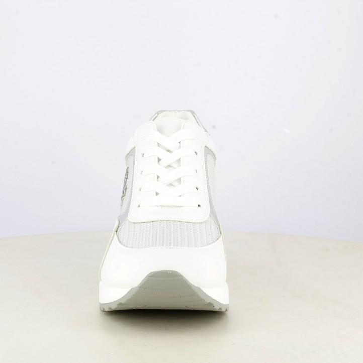 Zapatillas deportivas Owel blancas con cuña detalles en plateado - Querol online