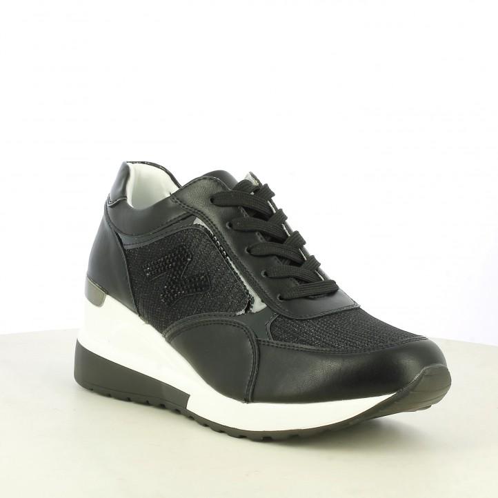 Zapatillas deportivas Owel negras con cuña detalles metalizados - Querol online