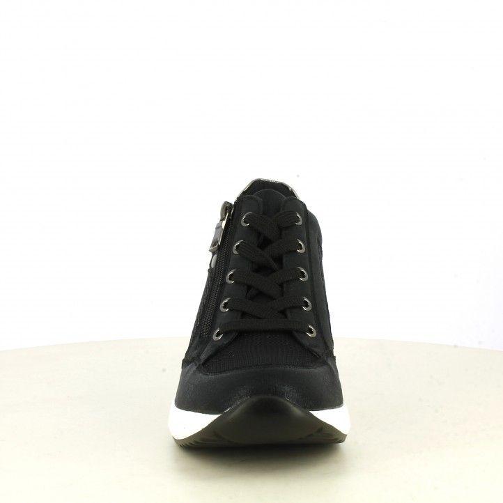 Zapatillas deportivas Owel negras con cordones y detalles brillantes - Querol online