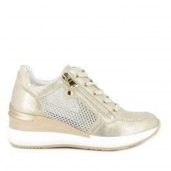 Zapatillas deportivas Owel dorado con cordones y detalles brillantes - Querol online