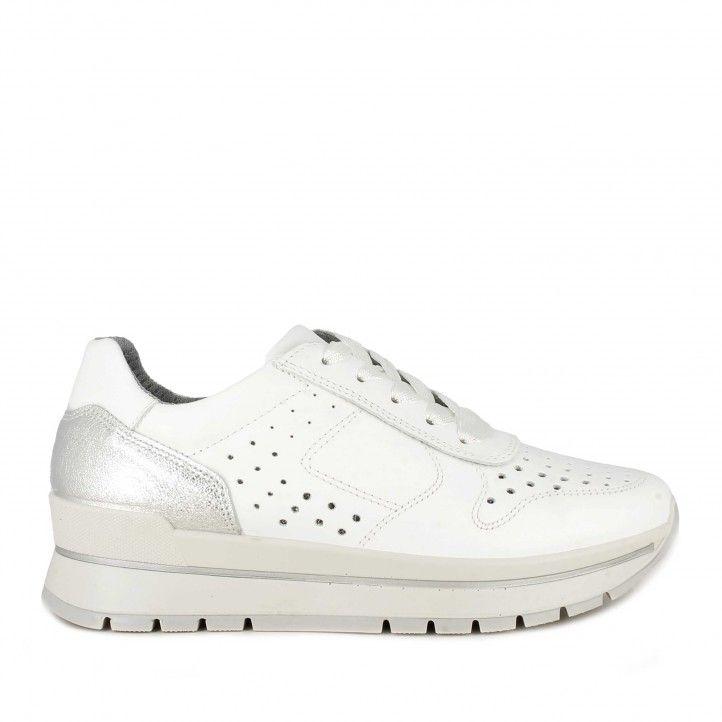 Zapatillas deportivas Imac blancas con cordones y detalles plateados - Querol online
