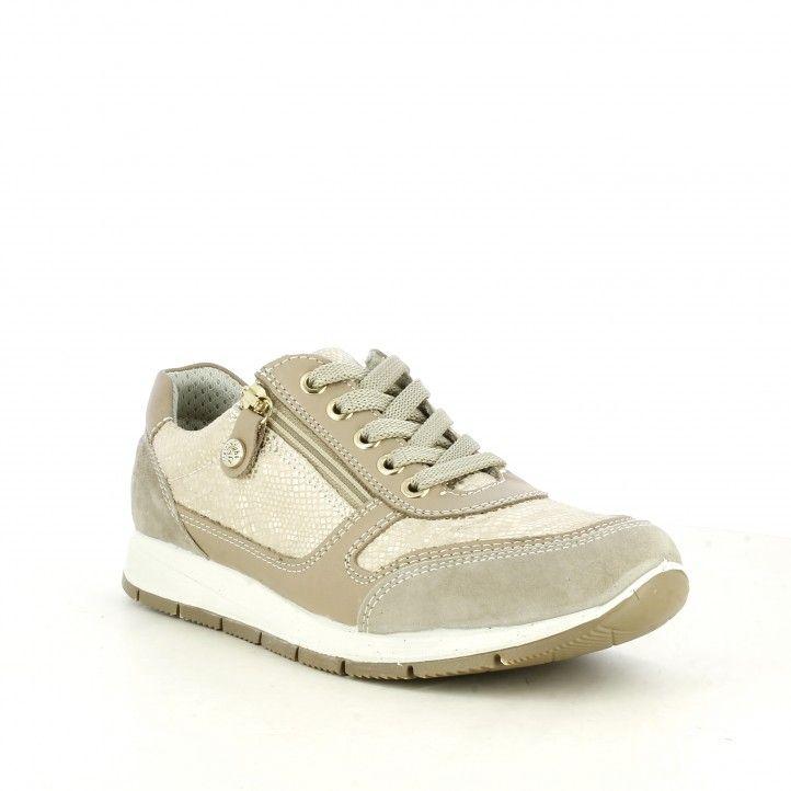 Zapatillas deportivas Imac beige con cordones y cremallera - Querol online