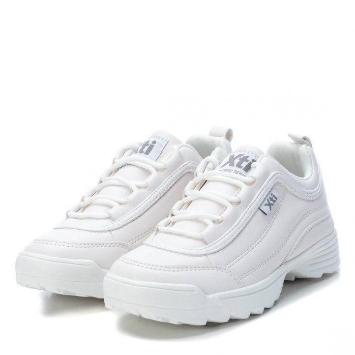 Sabatilles esport XTI KIDS blanques de cordó sola de goma de 3cm 05703205 - Querol online