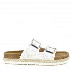 sandalias K-TINNI blancas con detalles en plateado cierre con dos hebillas - Querol online