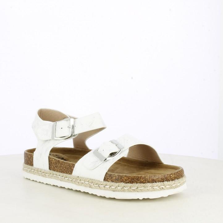 sandàlies K-TINNI blanque amb detatalls en platejat - Querol online