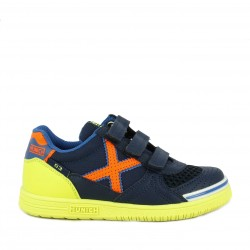 Zapatillas deporte Munich azules con velcro g3 kid indoor 1072 - Querol online
