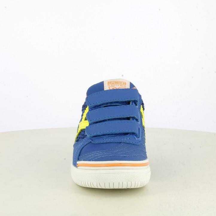 Zapatillas deporte Munich azul con velcro g3 kid indoor 1097 - Querol online
