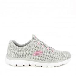 Zapatillas deportivas Skechers grises con cordones elásticos plantilla memory foam