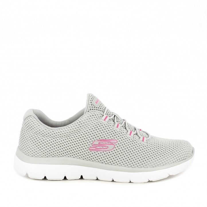 Zapatillas deportivas Skechers grises con cordones elásticos plantilla memory foam - Querol online