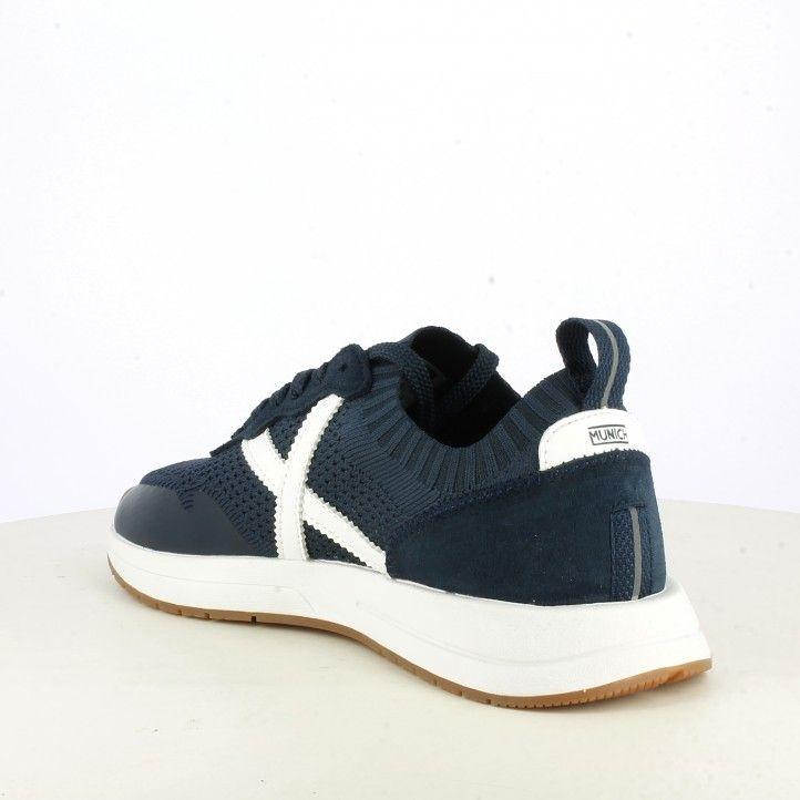 Zapatillas deportivas Munich azul marino de malla elástica combinada con serraje suela blanca - Querol online