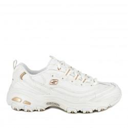 Zapatillas deportivas Skechers blancas con detalles en dorado d´lites fresh star con plantilla memory foam - Querol online