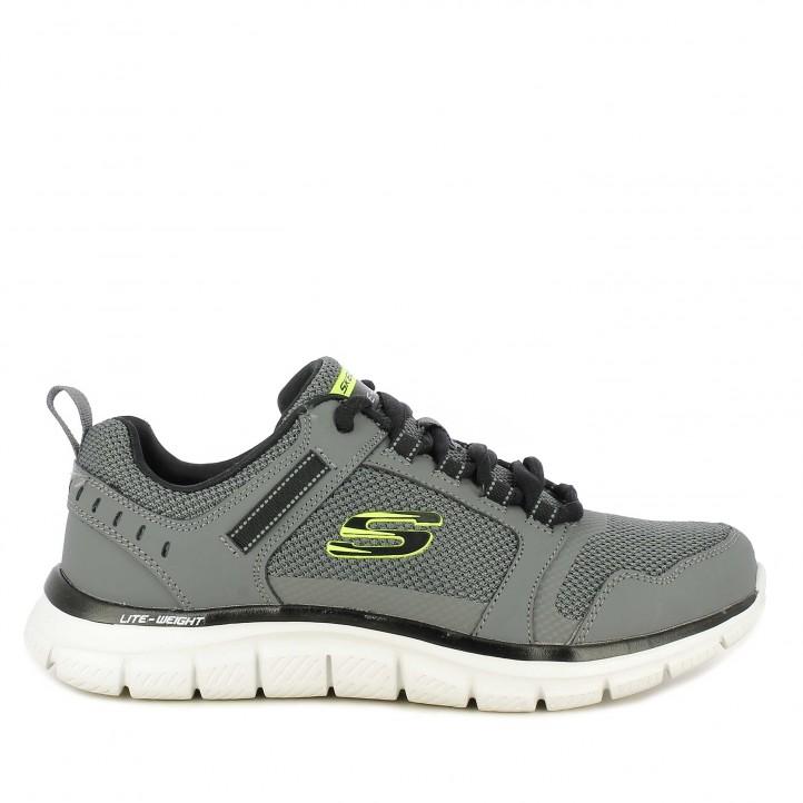 Zapatillas deportivas Skechers grises con cordones track knockhill - Querol online