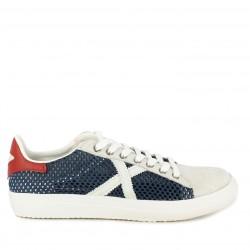 Zapatillas deportivas Munich azul marino tejido rejilla y detalles n blanco y rojo rete 34 - Querol online