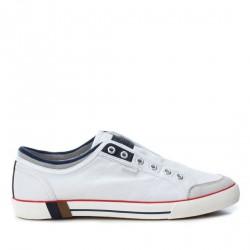 Zapatillas lona Refresh blancas con detalles azules - Querol online