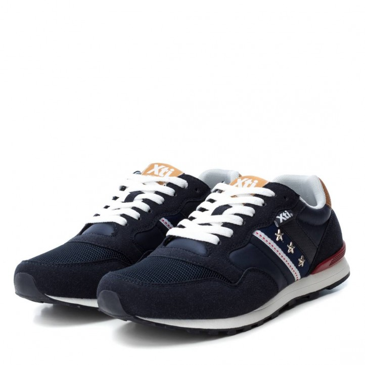 Zapatillas deportivas Xti azul marino con detalle en el lateral - Querol online