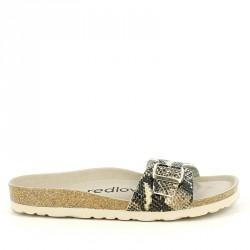 Sandalias planas Redlove con estampado serpiente y hebilla dorada - Querol online