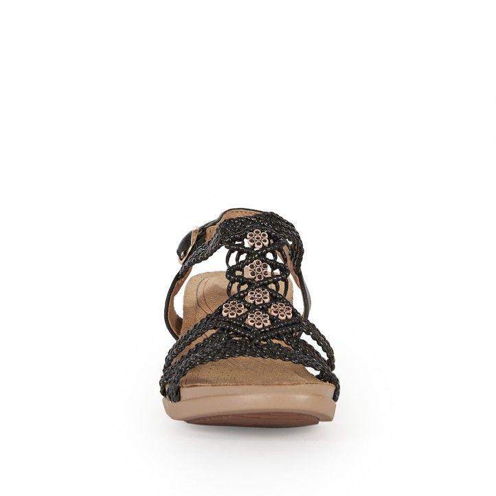 Sandalias tacón You Too negras con tiras trenzadas - Querol online
