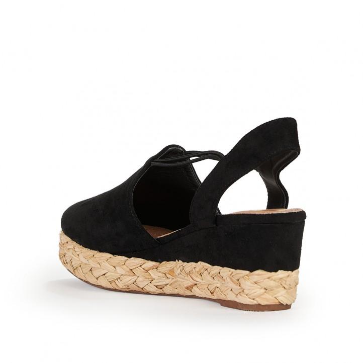 Sandàlies falca Wrangler negres amb elàstics laterals - Querol online