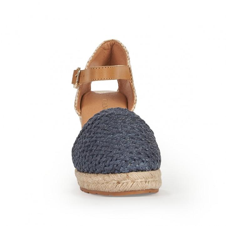 Sandalias cuña D'Angela trenzado azul marino con hebilla - Querol online