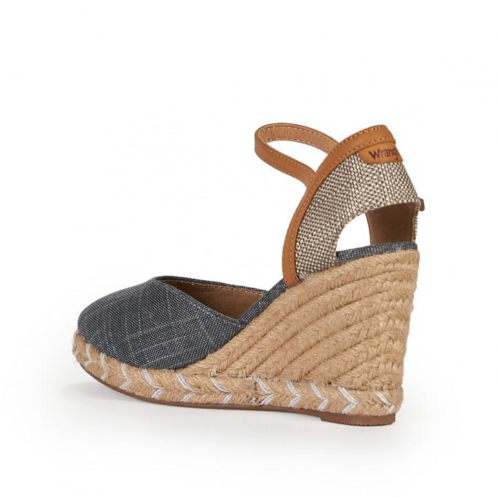 Sandalias cuña Wrangler azules y marrones - Querol online