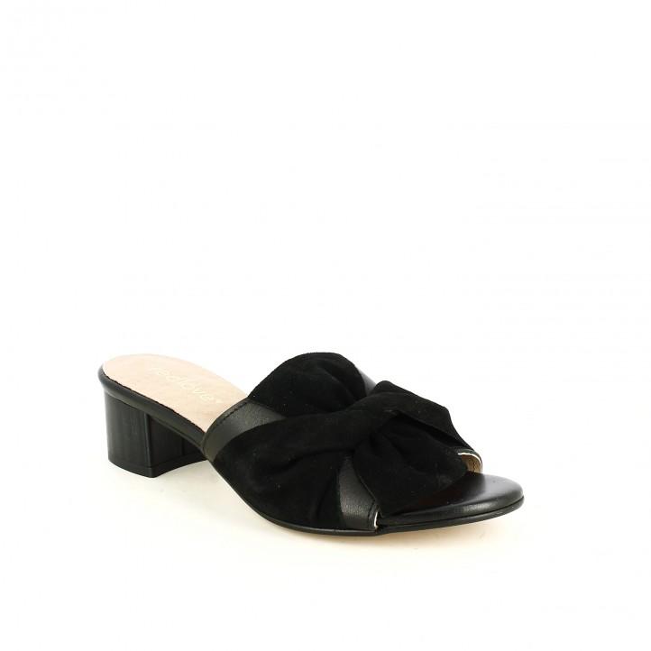 Sandàlies taló REDLOVE de pell negres amb llaç - Querol online
