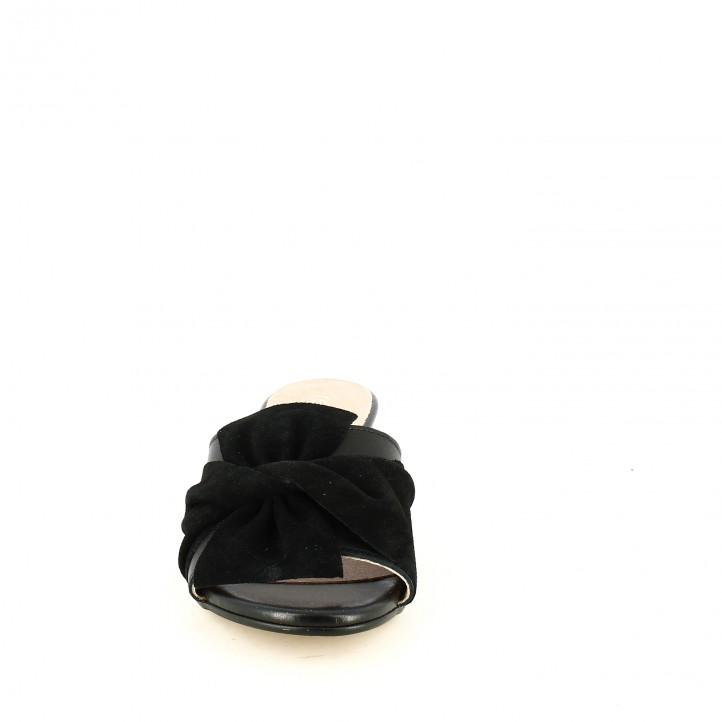 Sandalias tacón REDLOVE de piel negras con lazo - Querol online