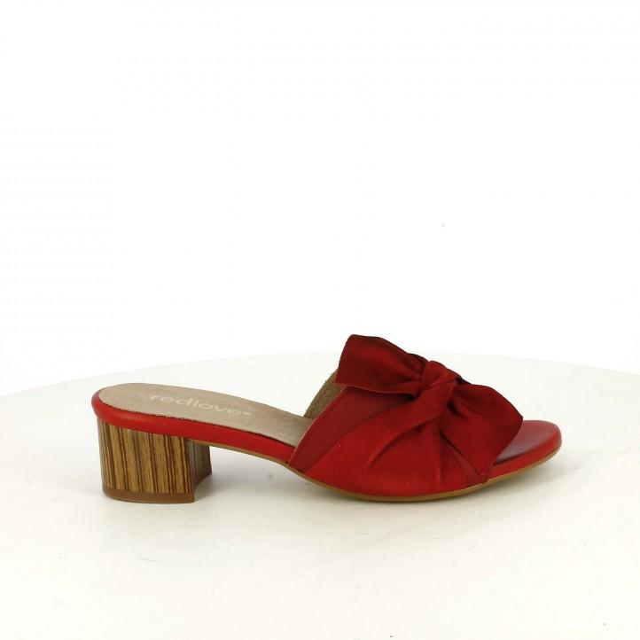 Sandàlies taló REDLOVE de pell vermelles amb llaç - Querol online