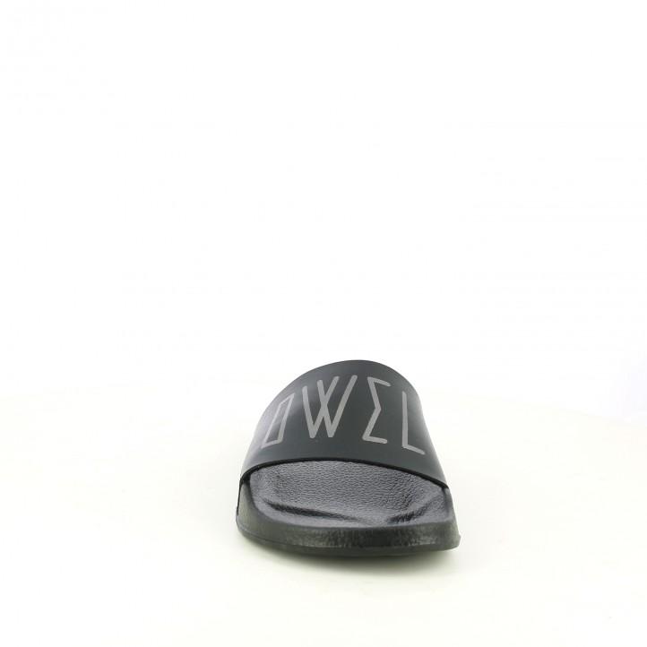 Chanclas OWEL de pala negras y plateadas - Querol online