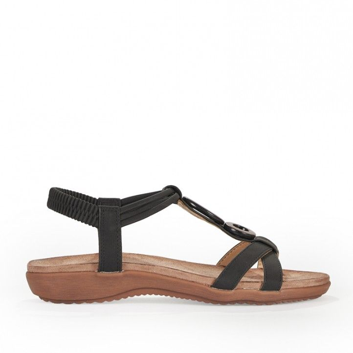 Sandalias planas Amarpies con tira negra horizontal doble y detalle en madera - Querol online