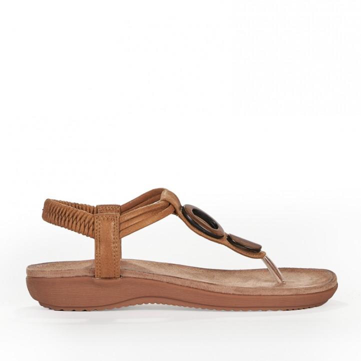 Sandalias planas Amarpies amb tira marró i detall en fusta - Querol online