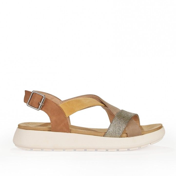 Sandalias planas D'Angela con tiras de diferentes colores - Querol online
