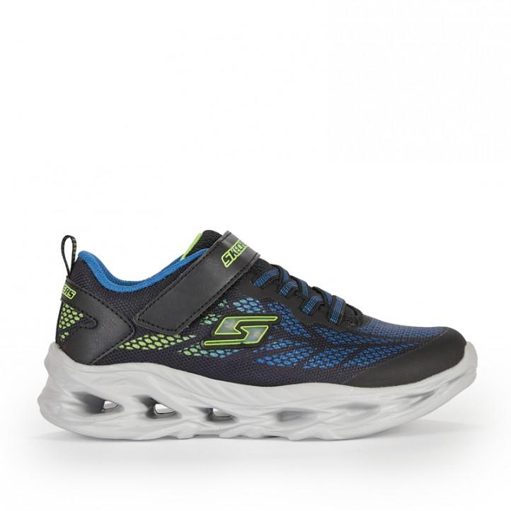 Zapatillas deporte Skechers negras con detalles azules y verdes - Querol online