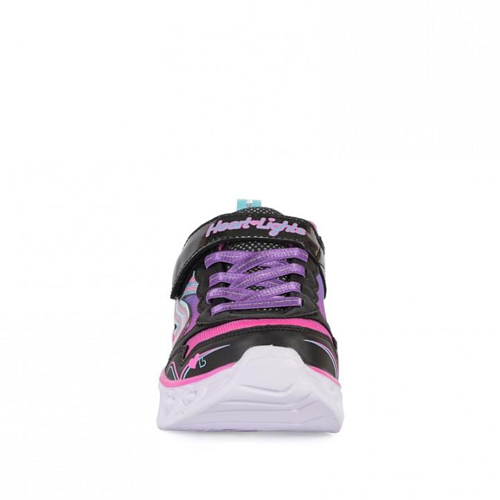 Zapatillas deporte Skechers negras con luces, corazones y detalles en rosa - Querol online