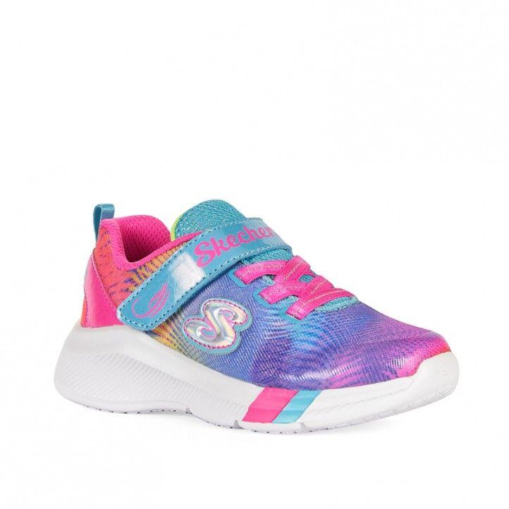 Sabatilles esport Skechers amb reflexos de colors liles, taronges i roses - Querol online