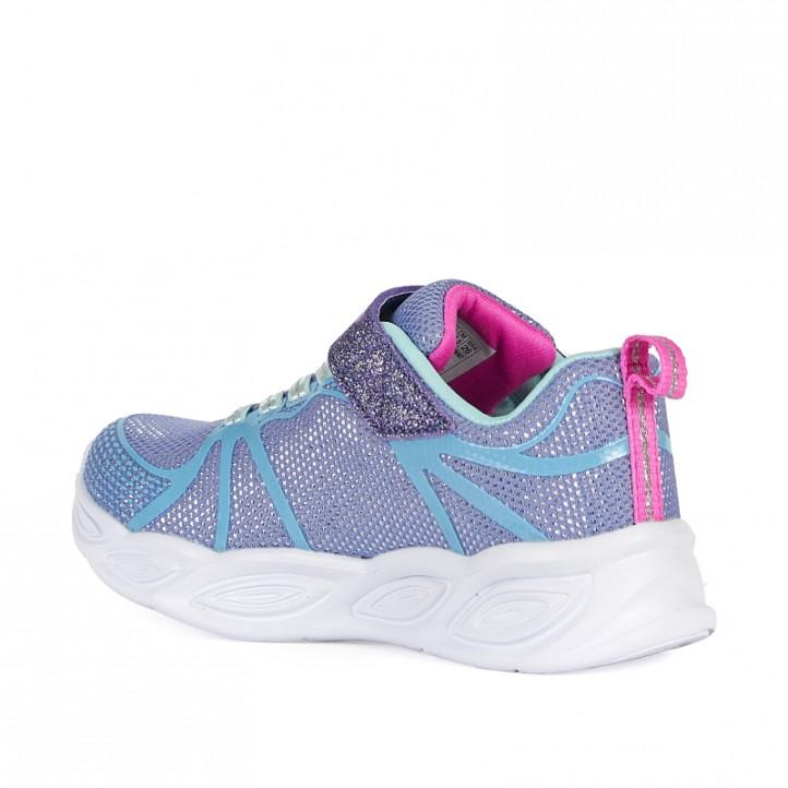 Zapatillas deporte Skechers lilas con detalles en color azul - Querol online