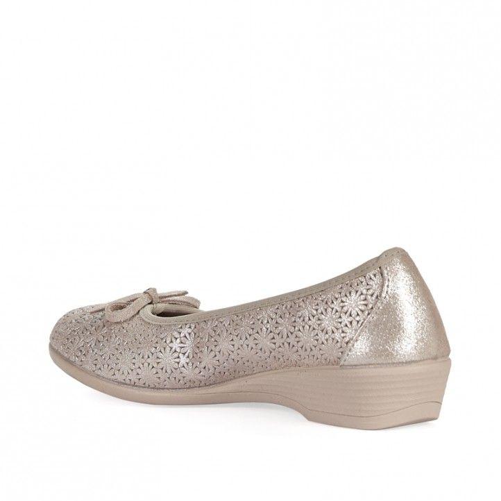 Bailarinas Vul·ladi color crema con detalles de flores - Querol online