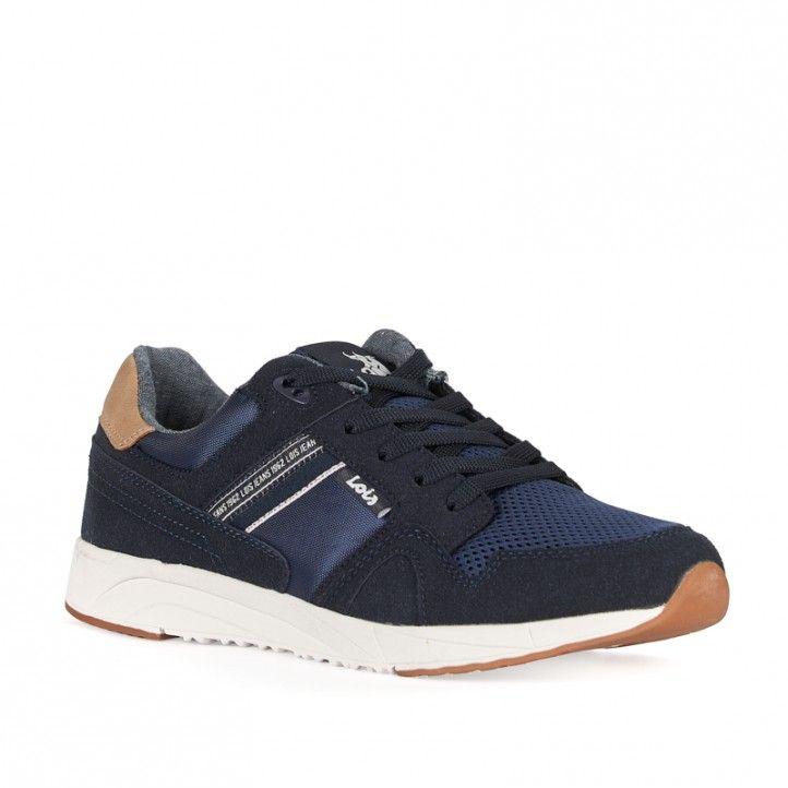 Zapatos sport Lois azules con cordones y suela blanca - Querol online