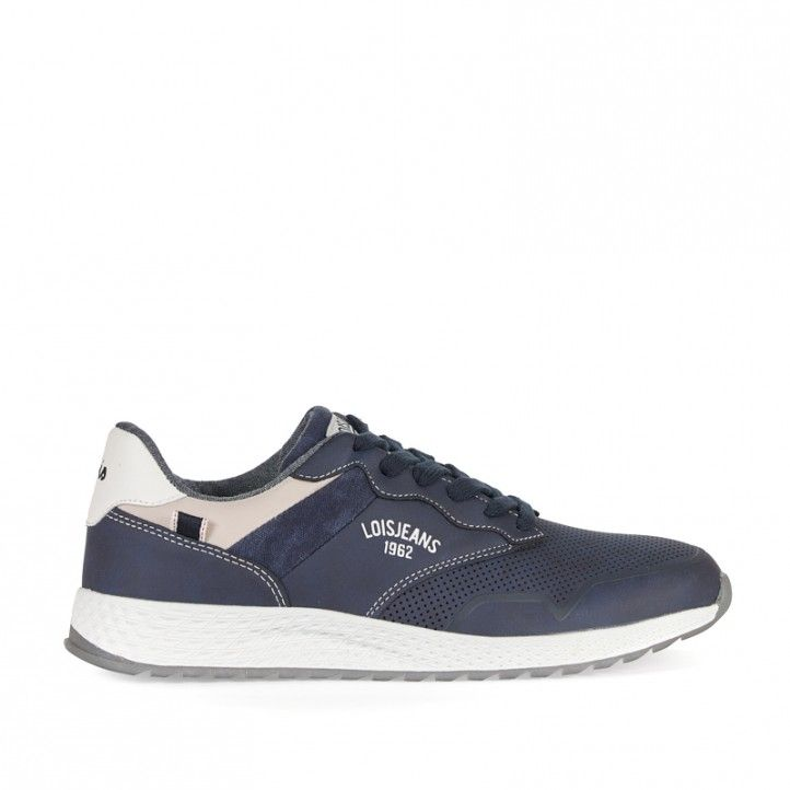 Zapatos sport Lois azules con detalles en blanco - Querol online